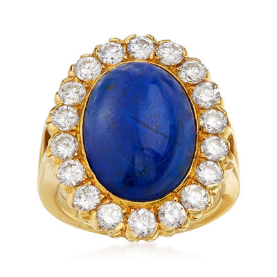 C. 1980 Vintage Lapis and 1.80 ct. t.w. Diamond Ring in 18kt Yellow Gold, , default