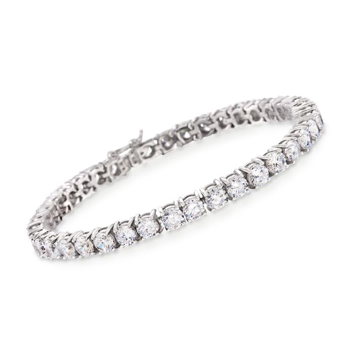 12.00 ct. t.w. CZ Tennis Bracelet in Sterling Silver, , default