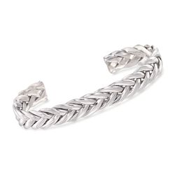 "Phillip Gavriel ""Woven Silver"" Men's Sterling Silver Palm Leaf Cuff Bracelet, , default"
