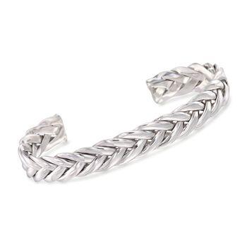 "Phillip Gavriel ""Woven Silver"" Men's Sterling Silver Palm Leaf Cuff Bracelet. 8"", , default"