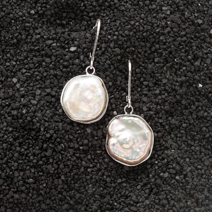 15-17mm Cultured Baroque Keshi Pearl Drop Earrings in Sterling Silver