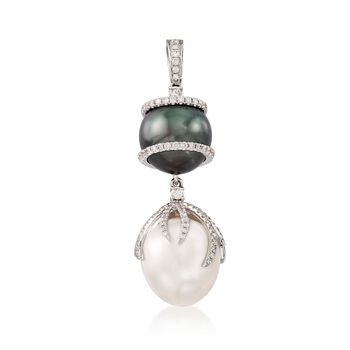 12-13mm Black and White Cultured South Sea Pearl Pendant With Diamonds in 18kt White Gold, , default
