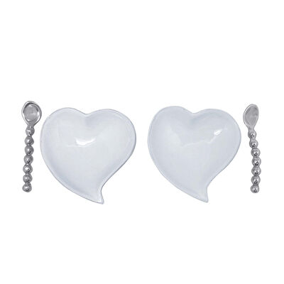 "Mariposa ""First Comes Love"" Ceramic Heart and Spoon Set, , default"