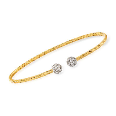 """Charles Garnier """"Paolo"""" .65 ct. t.w. CZ Cuff Bracelet in Sterling Silver and 18kt Gold Over Sterling, , default"""