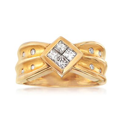 C. 1980 Vintage .50 ct. t.w. Princess-Cut and Round Diamond Ring in 14kt Yellow Gold