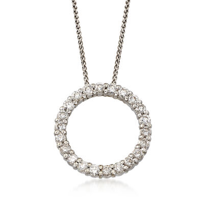 C. 1990 Vintage 1.10 ct. t.w. Diamond Circle Necklace in 14kt White Gold, , default