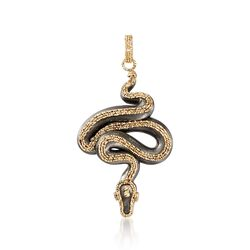 Italian Black Ceramic Snake Pendant With 14kt Yellow Gold, , default