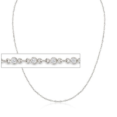 3-In-1 CZ Necklace, Mask Holder and Eyeglass Chain in Sterling Silver