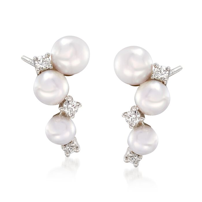 """Mikimoto """"Bubbles"""" 3.25-4.25mm Akoya Pearl Cluster Drop Earrings with Diamond Accents in 18kt White Gold , , default"""