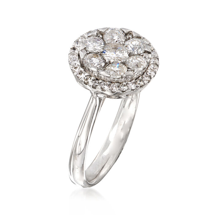 C. 1990 Vintage 1.05 ct. t.w. Diamond Cluster Ring in 14kt White Gold