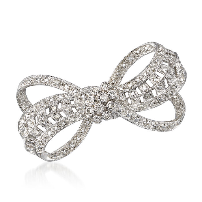 .20 ct. t.w. Diamond Bow Pin in Sterling Silver, , default