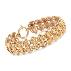"14kt Yellow Gold Double Row Mixed Link Bracelet. 8"", , default"