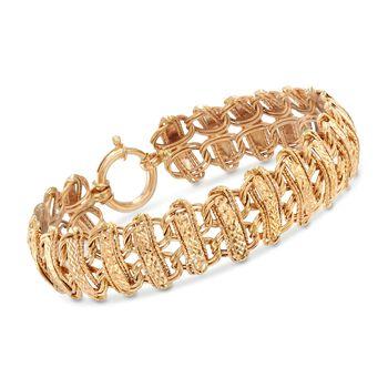 "14kt Yellow Gold Double Row Mixed Link Bracelet. 8"", , default"