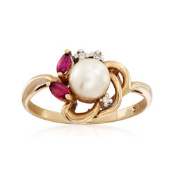 C. 1990 Vintage Cultured Pearl and .18 ct. t.w. Ruby Flower Ring With Diamond Accents in 10kt Gold, , default