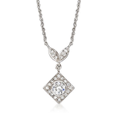 C. 1980 Vintage .75 ct. t.w. Diamond Drop Necklace in 14kt White Gold