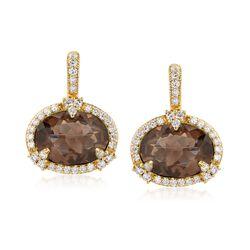 "Judith Ripka ""Monaco"" 6.86 ct. t.w. Smoky Quartz and .82 ct. t.w. Diamond Drop Earrings in 18kt Yellow Gold , , default"