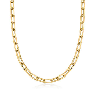 Italian 14kt Yellow Gold Paperclip Link Necklace, , default