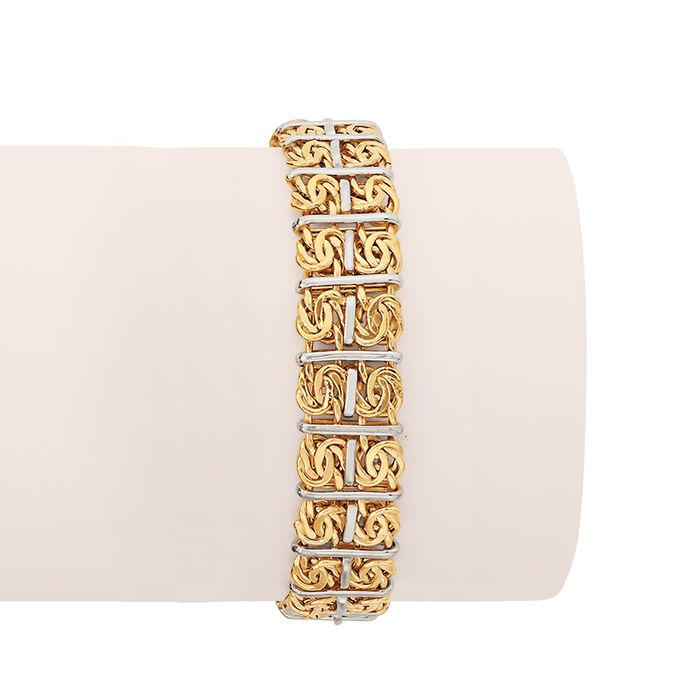 Two-Tone Sterling Silver Double-Row Byzantine Bracelet