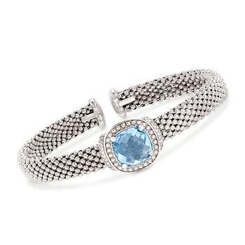 "Phillip Gavriel ""Popcorn"" 5.00 Carat Blue Topaz and .11 ct. t.w. Diamond Cuff Bracelet in Sterling Silver. 7"", , default"