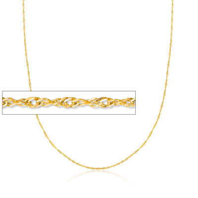 Italian .8mm 14kt Yellow Gold Adjustable Singapore Chain Necklace