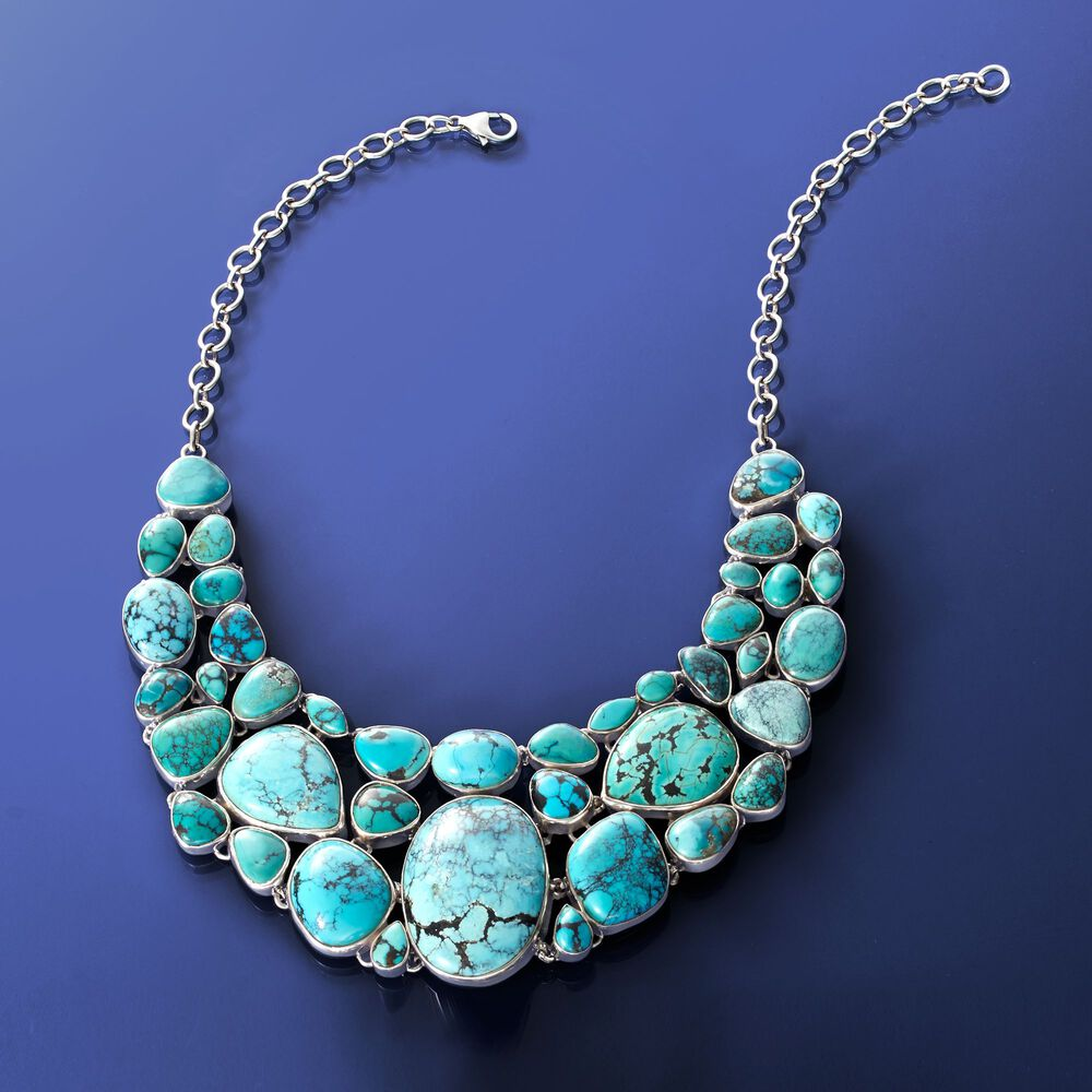 """Turquoise Bib Necklace in Sterling Silver. 18"""" 