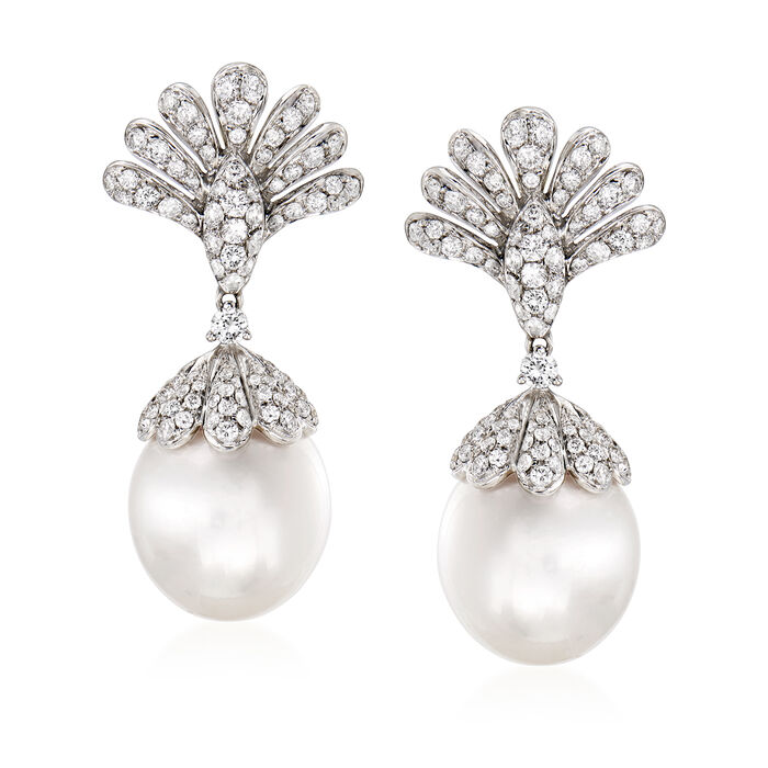 13.5-14mm Cultured South Sea Pearl and 1.95 ct. t.w. Diamond Drop Earrings in 18kt White Gold, , default