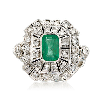 C. 1940 Vintage .95 Carat Emerald and .75 ct. t.w. Diamond Cocktail Ring in 18kt White Gold, , default