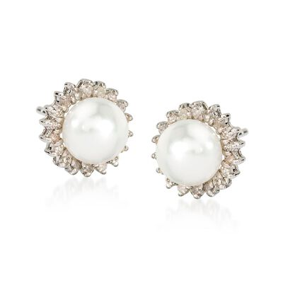 7mm Cultured Pearl and .25 ct. t.w. Diamond Earrings in 14kt White Gold, , default