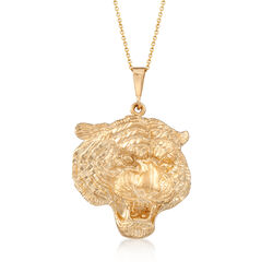 14kt Yellow Gold Tigers Head Pendant Necklace, , default