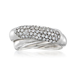 C. 1990 Vintage .60 ct. t.w. Diamond Crisscross Ring in 14kt White Gold , , default