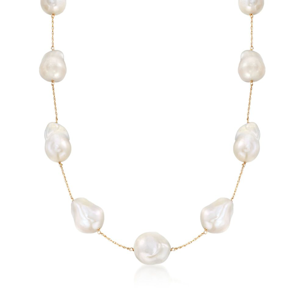 a0a8c30e22f85 12-14mm Cultured Freshwater Pearl Station Necklace in 14kt Yellow Gold