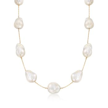 12-14mm Cultured Freshwater Pearl Station Necklace in 14kt Yellow Gold, , default