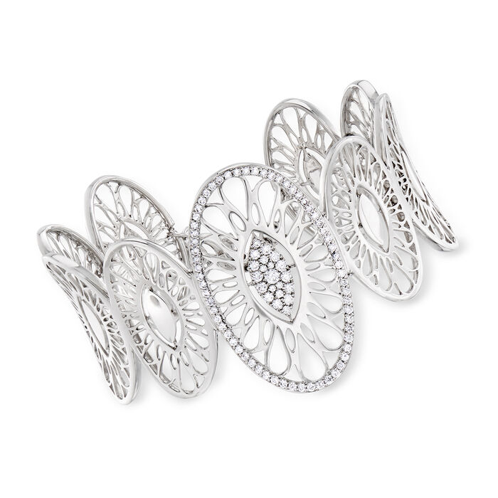 "C. 2000 Vintage Bucherer 1.18 ct. t.w. Diamond Multi-Oval Bracelet in 18kt White Gold. 7"""