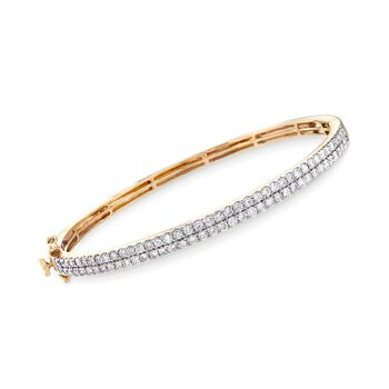 "2.00 ct. t.w. Diamond Double-Row Bangle Bracelet in 14kt Yellow Gold. 7"", , default"