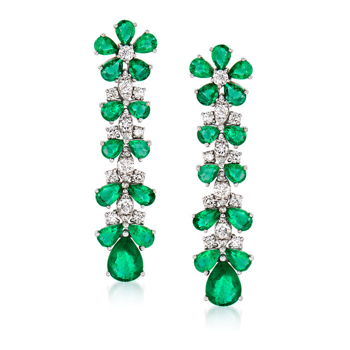 5.40 ct. t.w. Emerald and 1.00 ct. t.w. Diamond Floral Drop Earrings in 18kt White Gold