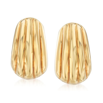 Italian 18kt Yellow Gold Grooved Earrings, , default