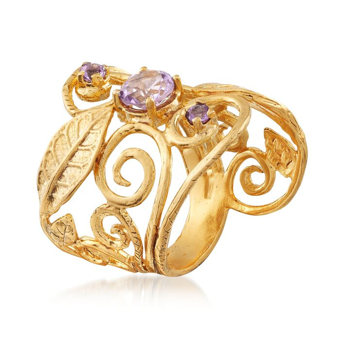.80 ct. t.w. Amethyst Leaf Ring in 18kt Yellow Gold Over Sterling Silver