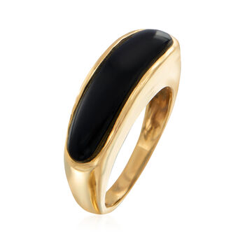 C. 1980 Vintage Black Onyx Ring in 14kt Yellow Gold. Size 5.75