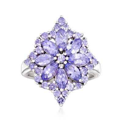 2.70 ct. t.w. Tanzanite Flower Burst Ring in Sterling Silver