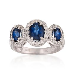 1.60 ct. t.w. Sapphire and .25 ct. t.w. Diamond Ring  in 14kt White Gold, , default