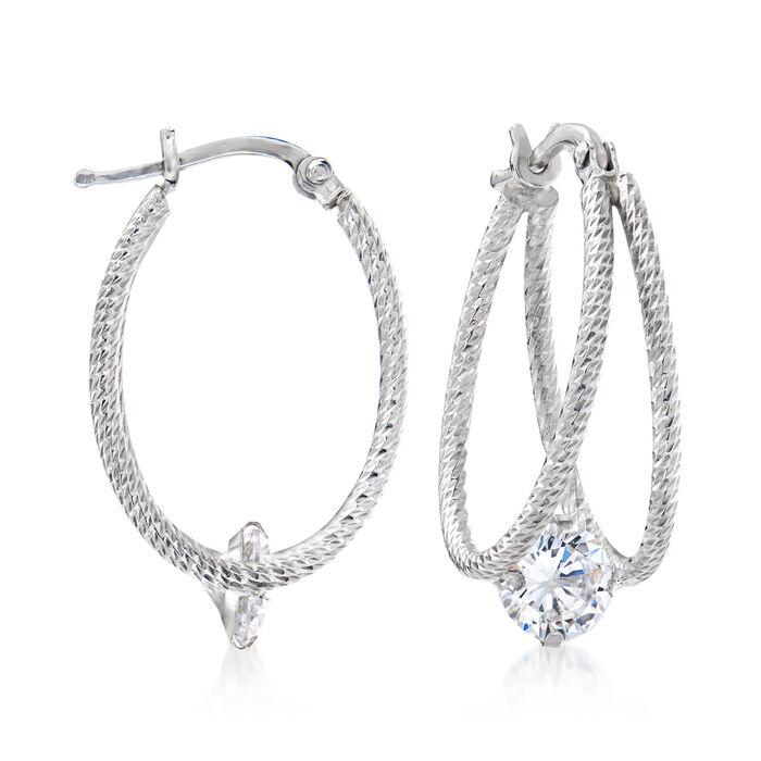1.70 ct. t.w. CZ Double-Hoop Earrings in Sterling Silver