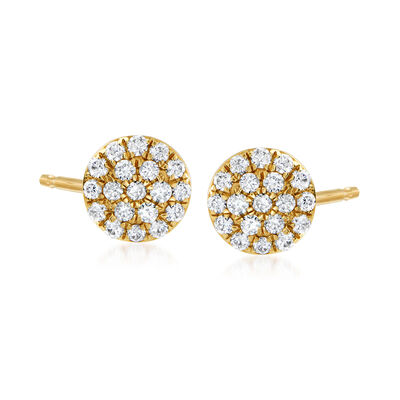 C. 1990 Vintage .47 ct. t.w. Diamond Cluster Earrings in 18kt Yellow Gold