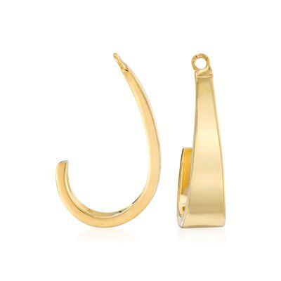 14kt Yellow Gold J-Hoop Earring Jackets , , default
