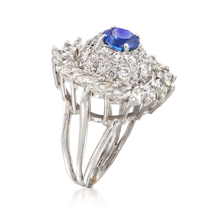 C. 1970 Vintage 3.75 ct. t.w. Diamond and 1.50 Carat Sapphire Cluster Ring in 18kt White Gold
