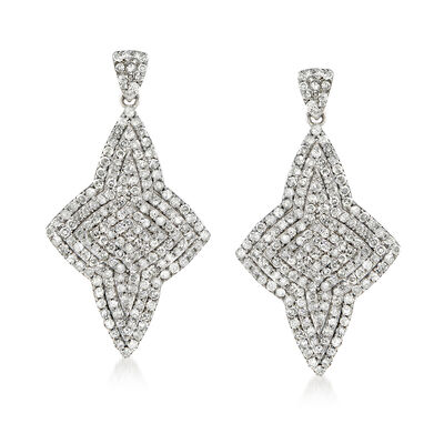 1.45 ct. t.w. Pave Diamond Star Drop Earrings in Sterling Silver