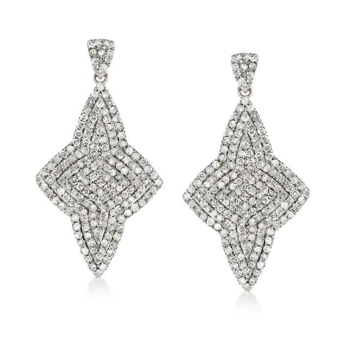 1.45 ct. t.w. Pave Diamond Star Drop Earrings in Sterling Silver