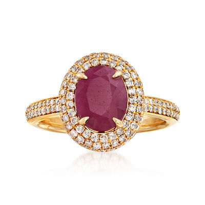 2.60 Carat Ruby and .65 ct. t.w. Diamond Halo Ring in 14kt Yellow Gold