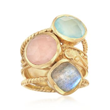 Multi-Stone Stacked Ring in 18kt Gold Over Sterling, , default