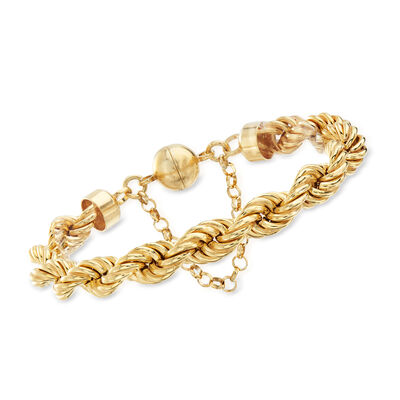 Italian 18kt Gold Over Sterling Rope Chain Bracelet with Magnetic Clasp, , default
