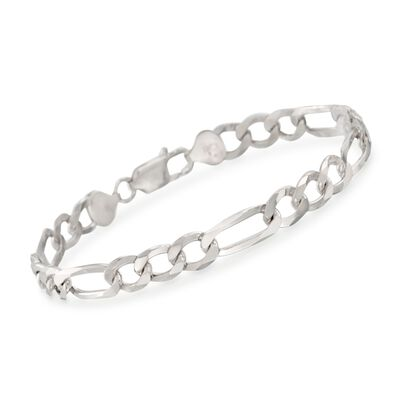 Men's 7.7mm Sterling Silver Figaro Link Bracelet, , default